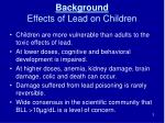 background effects of lead on children