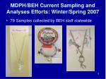 mdph beh current sampling and analyses efforts winter spring 2007