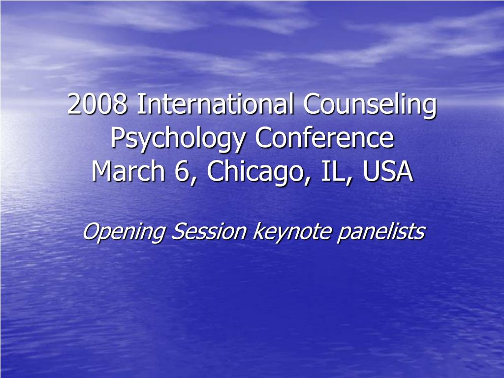 2008 international counseling psychology conference march 6 chicago il usa l.