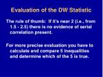 evaluation of the dw statistic