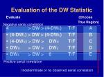 evaluation of the dw statistic46