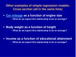 other examples of simple regression models cross section all in the same time