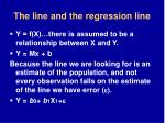 the line and the regression line