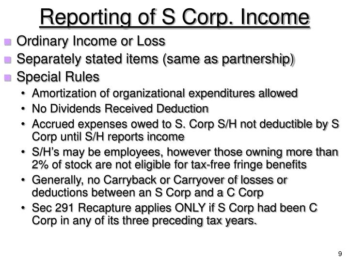 Reporting of S Corp. Income