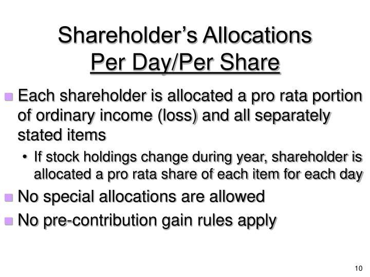 Shareholder's Allocations