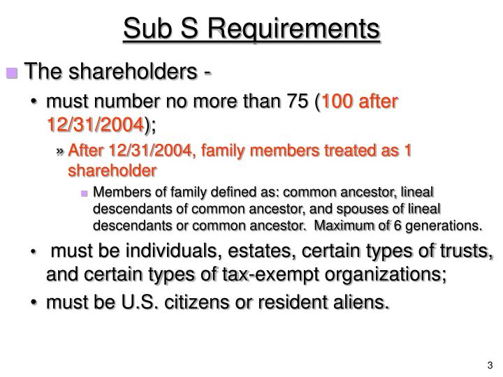 Sub s requirements