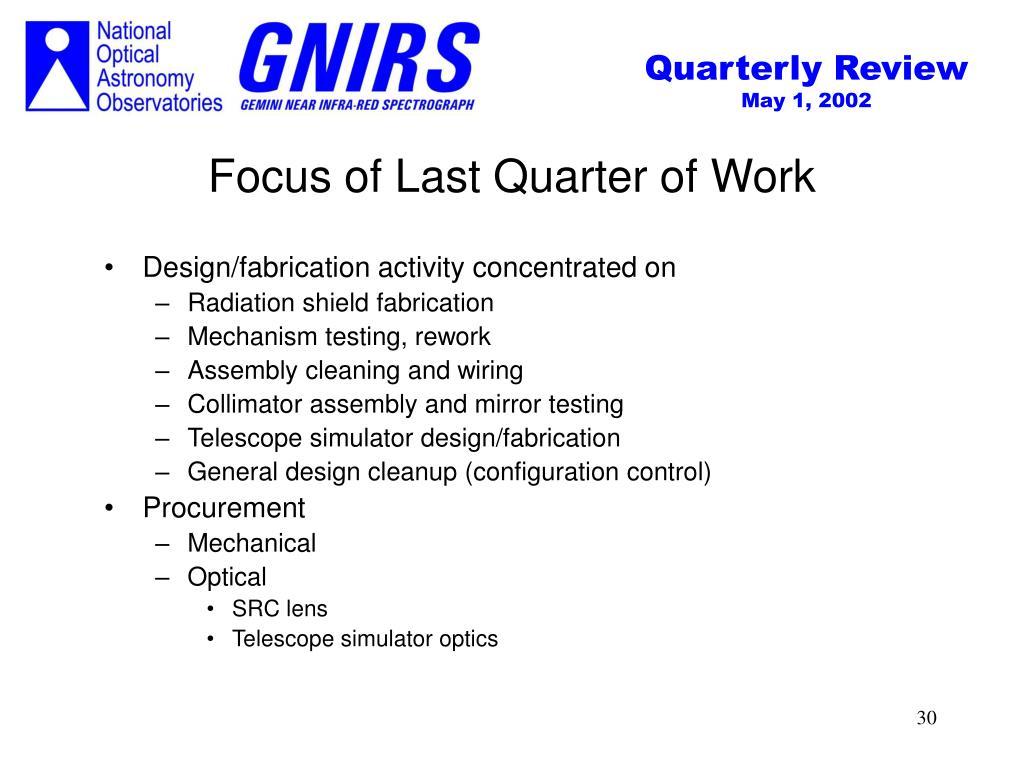 Focus of Last Quarter of Work