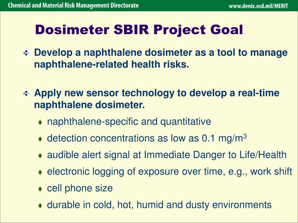 Dosimeter SBIR Project Goal