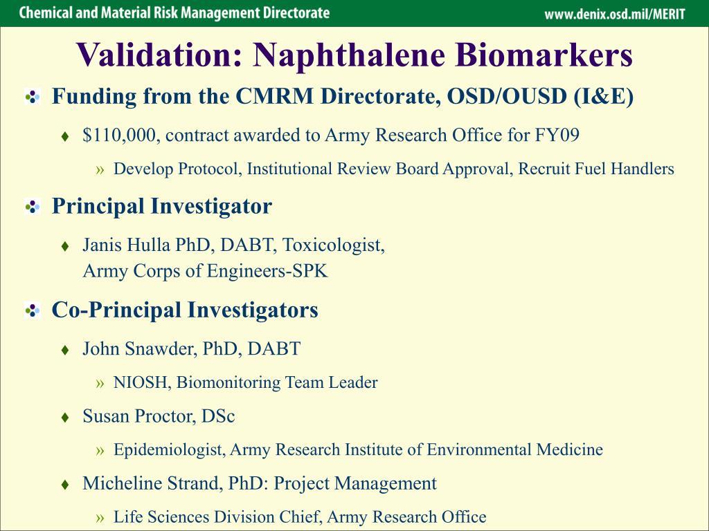 Validation: Naphthalene Biomarkers