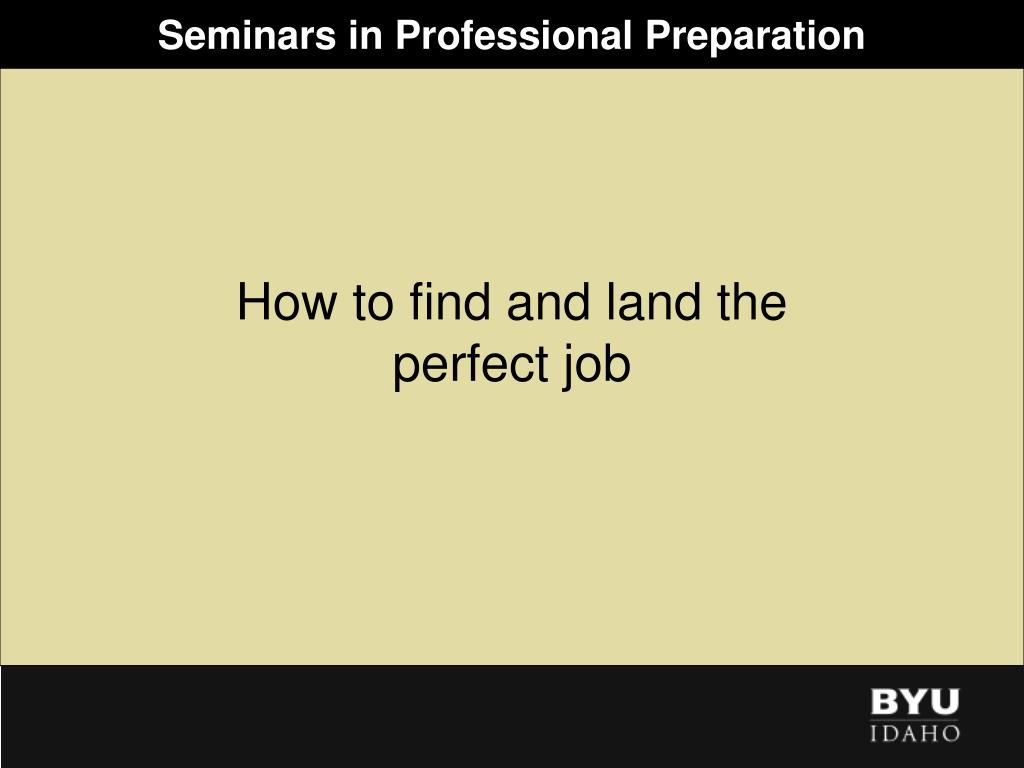 seminars in professional preparation l.