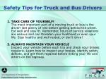safety tips for truck and bus drivers