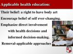 applicable health education