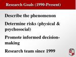 research goals 1990 present
