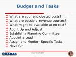 budget and tasks