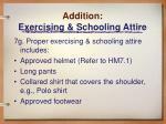 addition exercising schooling attire