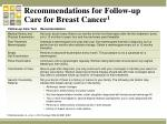 recommendations for follow up care for breast cancer 1