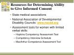 resources for determining ability to give informed consent
