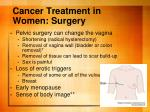 cancer treatment in women surgery