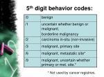 5 th digit behavior codes