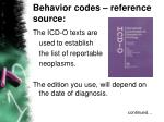 behavior codes reference source