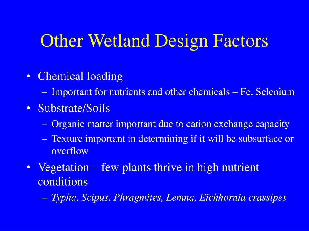 Other Wetland Design Factors