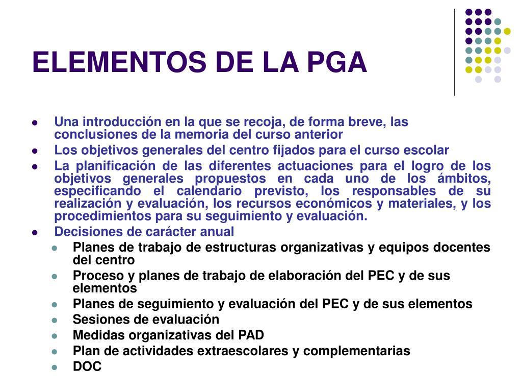 ELEMENTOS DE LA PGA