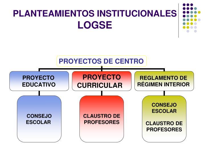 Planteamientos institucionales logse