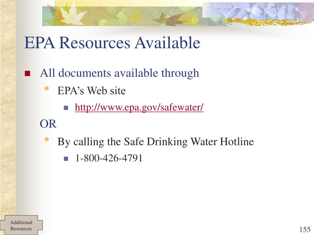 EPA Resources Available