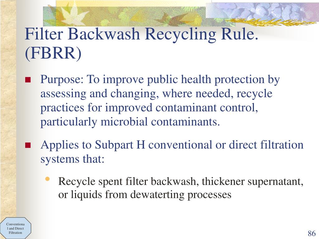 Filter Backwash Recycling Rule. (FBRR)