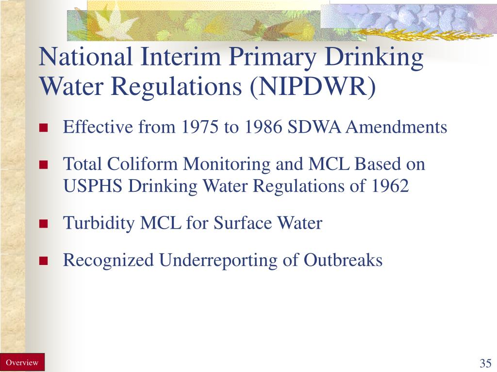 National Interim Primary Drinking Water Regulations (NIPDWR)