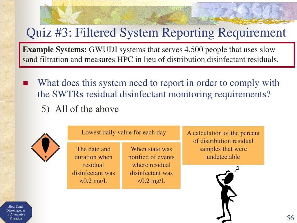 What does this system need to report in order to comply with the SWTRs residual disinfectant monitoring requirements?