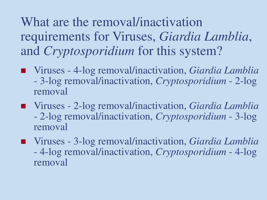 What are the removal/inactivation requirements for Viruses,