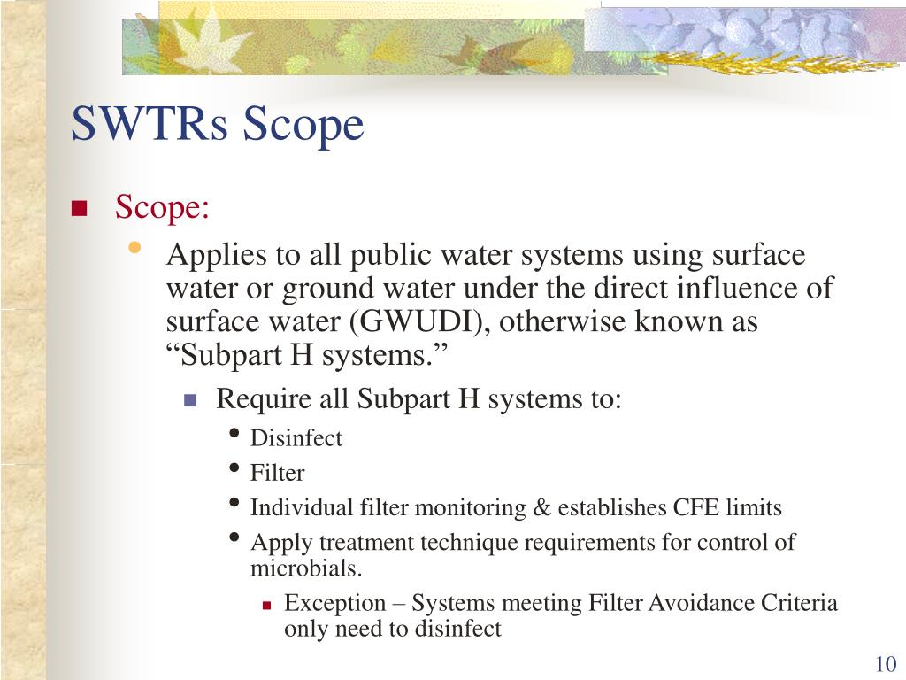 SWTRs Scope