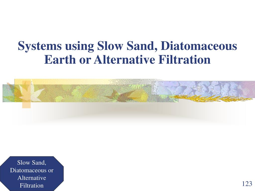 Systems using Slow Sand, Diatomaceous Earth or Alternative Filtration