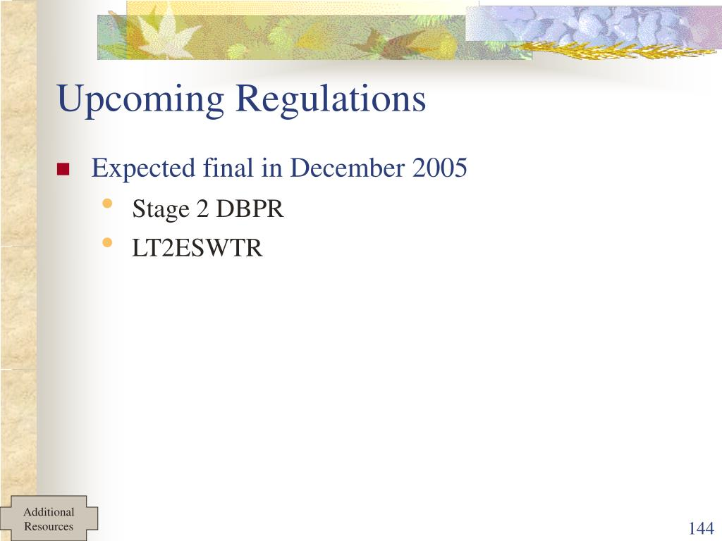 Upcoming Regulations