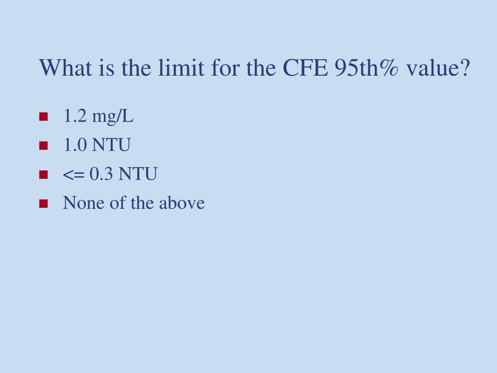 What is the limit for the CFE 95th% value?