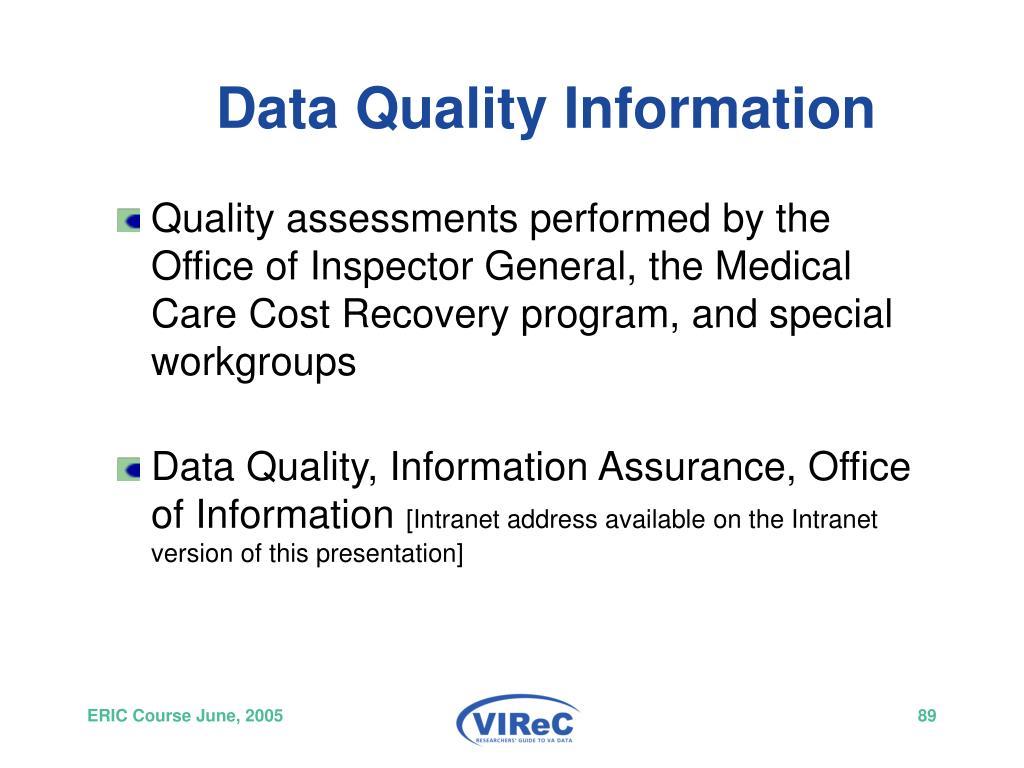 Data Quality Information