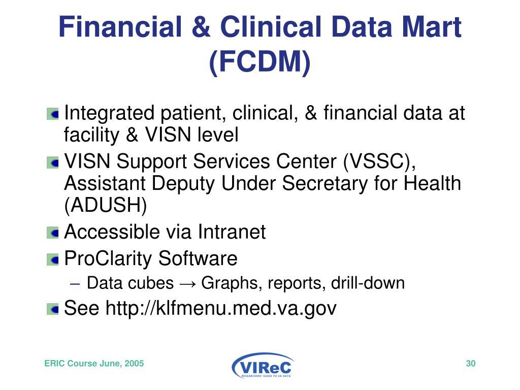 Financial & Clinical Data Mart (FCDM)