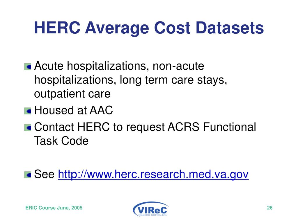 HERC Average Cost Datasets