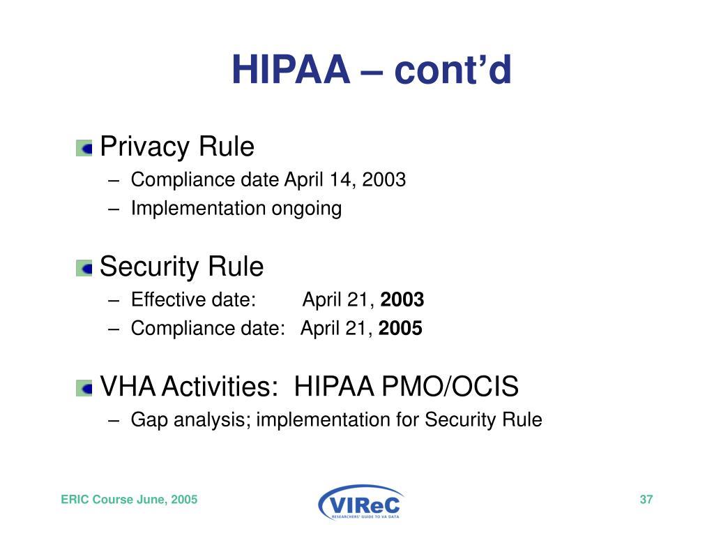 HIPAA – cont'd