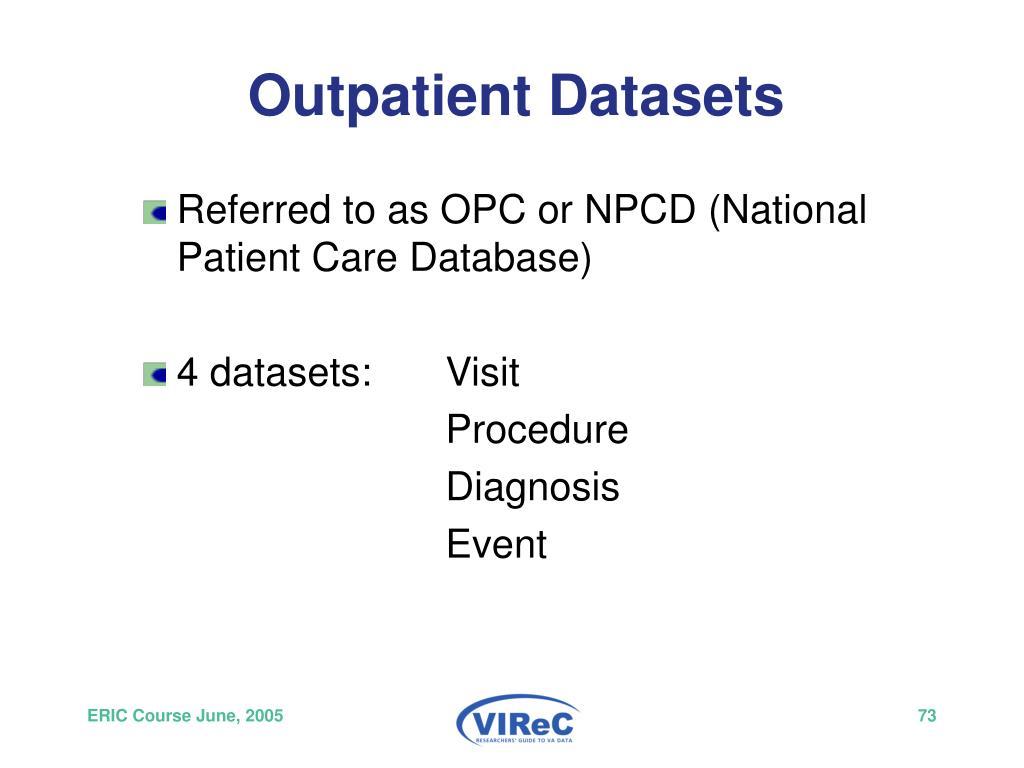 Outpatient Datasets