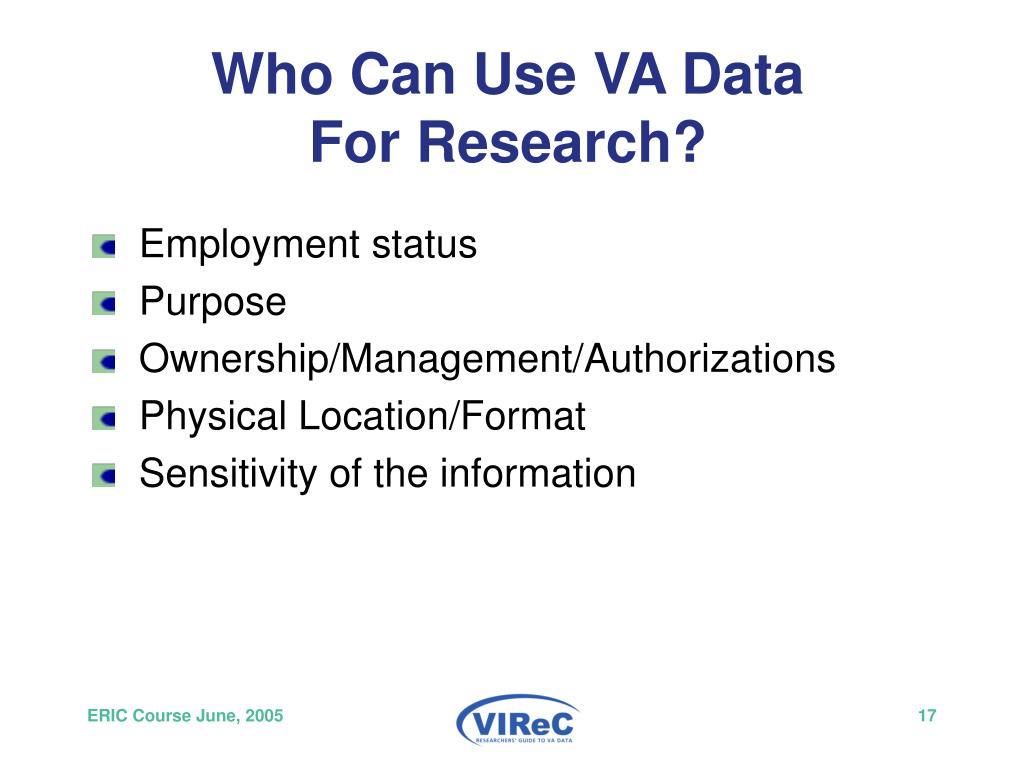 Who Can Use VA Data