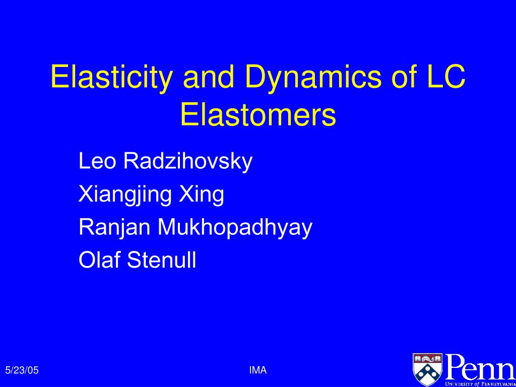 elasticity and dynamics of lc elastomers l.