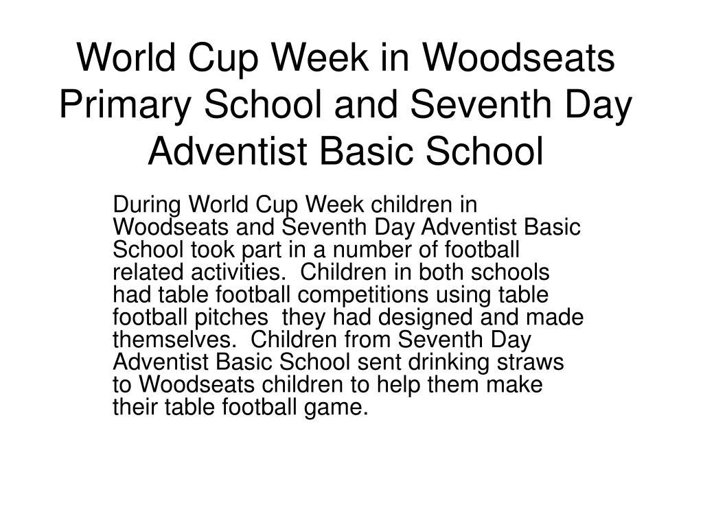 world cup week in woodseats primary school and seventh day adventist basic school l.