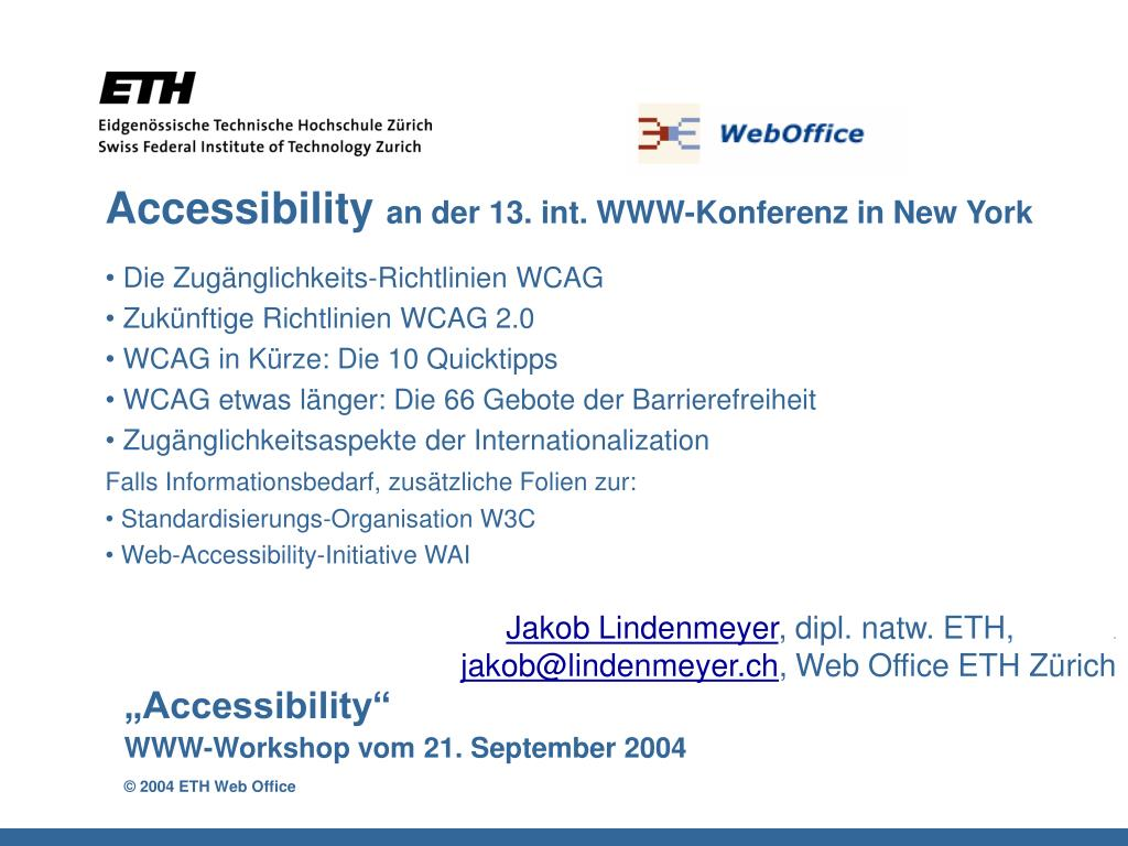 accessibility an der 13 int www konferenz in new york l.