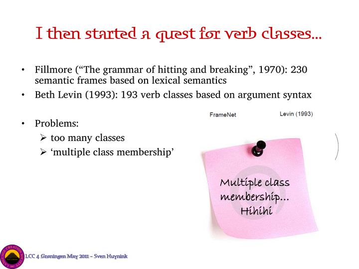 levin s verb classes and alternations Components of meaning means, entailed in all uses of a single verb (rappaport hovav & levin 2008: 2 levin & rappaport hovav 2010: the spray–load alternation greek has the spray – load alternation, as shown in (18): (18) a fortosa ta vivlia s-to amaksi frame a loaded-isg the books-acc to-the car 'i loaded the.