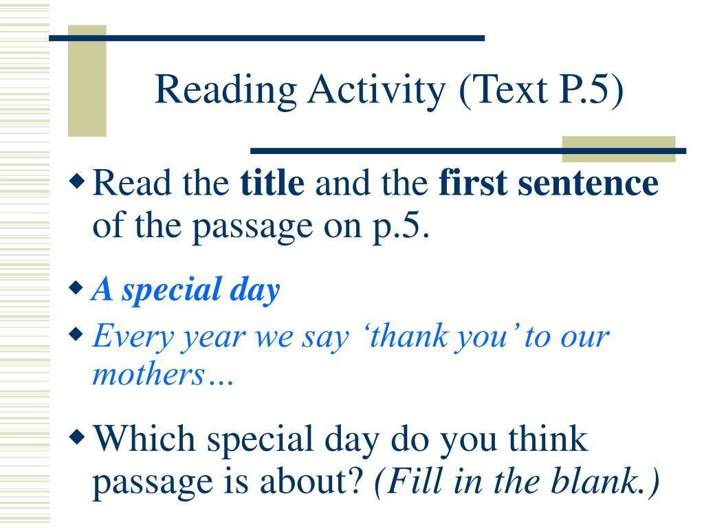 Reading Activity (Text P.5)