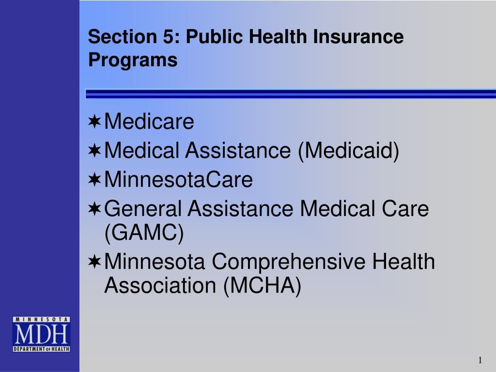 section 5 public health insurance programs