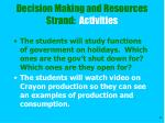 decision making and resources strand activities