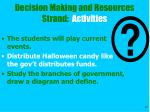 decision making and resources strand activities32
